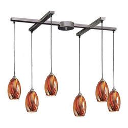 Joshua Marshal - Six Light Satin Nickel Multi Glass Multi Light Pendant - Six Light Satin Nickel Multi Glass Multi Light Pendant