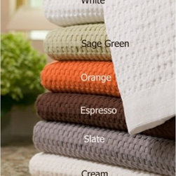 Gilden Tree - Modern Design Waffle Bath Towel - set of 2 - Set of 2 soft, absorbent hand towels feature large waffles, narrow border with tiny waffles and bold color!  They're generously sized and look stylish and sophisticated in any bath, and are an easy way to add a pop of color and texture into an all white bath.