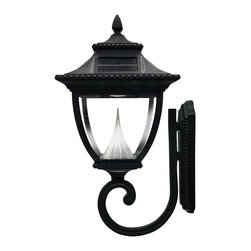 Gama Sonic GS-104W Pagoda Solar Lamp Wall Mount - Capture the energy of the sun with the beautiful GS-104W, Pagoda Solar Lamp with wall mount. Install new or replace your outdated and energy-guzzling gas lamps or low voltage lighting with this energy-efficient solar powered lamp. No wiring needed. The Pagoda Solar Lamp is made of powder-coated cast-aluminum and is weather resistant. Thus, requiring no maintenance. The Pagoda Solar Lamp automatically features a bright, long lasting light and in a timeless design. The Pagoda Solar Lamp automatically turns on at dusk and off at dawn. Our patented cone reflector technologies, in combination with super bright LED's, help make the Pagoda Solar Lamp one of the world's brightest solar lamps available. Enhance your outdoor lighting experience by installing this unit on any wall with good sun exposure. With a convenient high/low brightness switch, you can choose between a brighter light or longer lasting light. The GS-104W will shine for up to 15 hours on the low setting and up to 12 hours on the high setting with a single day's solar charge.