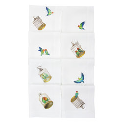 Huddleson Linens - Lovebirds Linen Napkin (Set of Eight) - Birds of a feather really do flock together, especially when it comes to inspired designs like these. The set of eight features a different motif on each napkin, with one or two lovebirds nestled atop. The added bonus? These napkins are made from 100 percent, luxurious Italian linen that gets softer with each washing.