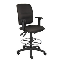 """Boss Chairs - Boss Chairs Boss Multi-Function Fabric Drafting Stool with Adjustable Arms - Upholstered in black Crepe fabric. Back angle lock allows the back to lock throughout the angle range for perfect back support. Seat tilt lock allows the seat to lock throughout the tilt range. Pneumatic gas lift seat height adjustment. Nylon base. Hooded double wheel casters. Adjustable arms. 20"""" diameter chrome footring."""
