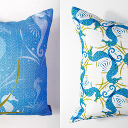 Kaypee Soh - Seahorse Pillow - Aqua - Rare and mysterious, these natural beauties evoke a sense of ocean wonder and joy. Will make you smile every time you see it! 100% LinenHidden red zipper closureFeather/down hypoallergenic insertHandmade in USA