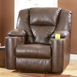 Signature Design by Ashley - Wall Recliner in Brindle (w/o Power) - Choose Power: w/o PowerMaterial: Leather (17%), Cotton (26%), and Polyurethane (57%). Color/Finish: Brindle. Frames have been tested to GSA government standards. Corners are glued, blocked and stapled. Stripes and patterns are match cut. All fabrics are pre-approved for wearability and durability against AHMA standards. Cushion cores are constructed of low melt fiber wrapped over high quality Foam. Features Metal drop-in unitized seat box for strength and durability. All Metal construction to the floor for strength and durability. The reclining mechanism features infinite positions for comfort. Assembly Instructions. 42 in. W x 41 in. D x 44 in. H