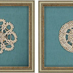 Paragon Decor - Shell Kaleidoscope Set of 2 Artwork - Shells are mounted on decorative teal paper with bark pattern.
