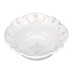 """Juliska - Juliska Jardins du Monde Cereal Bowl Whitewash - Juliska Jardins du Monde Cereal Bowl Whitewash.Festooned with garlands, this gracefully scalloped bowl brings a splash of understated elegance to your table. Perfectly fetching when filled with the bright contrasting hue of red cherries. Dimensions: 2.5"""" H x 7"""" W Capacity: 12 oz"""