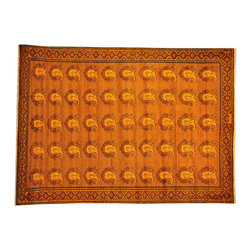 1800GetARug.com - Overdyed Persian Full Pile Orange Cast 100% Wool 7'x10' Hand Knotted Sh17869 - Overdyed Persian Full Pile Orange Cast 100% Wool 7'x10' Hand Knotted Sh17869