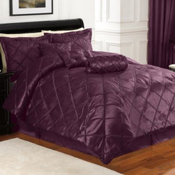 Britannica Home Fashions, Inc. - Braxton 7-Piece Comforter Set in Purple - Achieve a lavish look in your bedroom with the luxuriously soft faux silk Braxton 7-Piece Comforter Set in a rich purple. Beautifully accented with a appliqued diamond pattern on a rich purple ground, the plush bedding brings sophistication to any room.