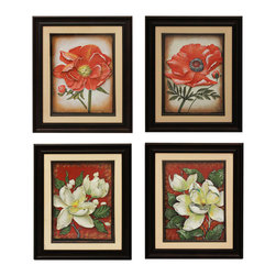 ecWorld - Urban Designs Handcrafted 4-Piece Set Artisan Metal Wall Art - Poppy & Magnolia - This floral wall art set depicts blooming poppies and magnolias in hand-dyed shades of red and aged white. This wall art arrives ready to hang.