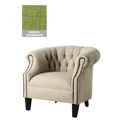 Custom Tufted Barrel Armchair, Marcel Asparagus - How classic is this tufted chair with beautiful nailhead trim? Now imagine it in a punchy swatch of asparagus green. Perfection!