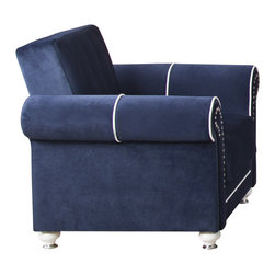 Casamode Furniture - Royal Home Armchair | Riva Dark Blue - Royal Home Collection by Casamode represents this graceful armchair in dark blue color and soft to the touch upholstery.