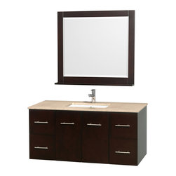 Wyndham Collection - 48 in. Ivory Top Vanity Set - Includes matching mirror with shelf. Faucets not included. Four functional drawer. Two functional door. Plenty of counter and storage space. Brushed chrome exterior hardware finish. Single faucet hole mount can be drilled for 3-hole faucets on site. Concealed soft-close door hinges. Fully-extending under-mount soft-close drawer slides. Deep doweled drawers. Unique and striking contemporary design. Highly water-resistant low V.O.C. sealed finish. 12-stage wood preparation, sanding, painting and finishing process. Lifetime warping prevention. Square porcelain undermount sink. Made from solid oak wood. Espresso finish. Vanity: 48 in. W x 21.5 in. D x 22.75 in. H. Mirror: 36 in. W x 5 in. D x 33 in. H. Handling Instructions. Assembly Instructions - Vanity. Assembly Instructions - Countertop. Assembly Instructions - Sink. Assembly Instructions - MirrorSimplicity and elegance combine in the perfect lines of the Centra vanity by the (No Suggestions) collection. If cutting-edge contemporary design is your style then the Centra vanity is for you - modern, chic and built to last a lifetime. Available with green glass, pure white man-made stone, ivory marble or white Carrera marble counters, and featuring soft close door hinges and drawer glides, you'll never hear a noisy door again! Meticulously finished with brushed chrome hardware, the attention to detail on this beautiful vanity is second to none.