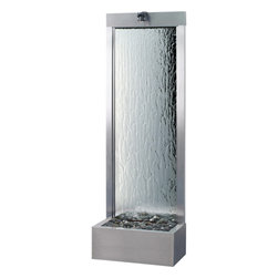 Bluworld - Silver Mirror Gardenfall Fountain - 6' Stainless Steel - At 6 feet tall, this floor fountain offers instant visual impact indoors or out. Its clean, contemporary design is a welcome addition to modern-day homes. Not only is it stunning to look at, it's also relaxing to hear. And, it helps you promote a healthier living environment by humidifying and cleansing the air.