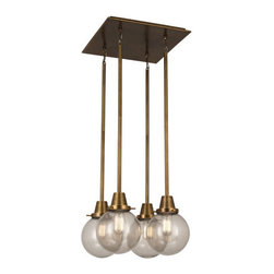 Robert Abbey - Robert Abbey Rico Espinet Buster Globe Globe Quad Chandelier 244 - Aged Brass Finish