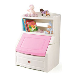 Step2 - Lift and Hide Bookcase Toy Box with Lid - This unique and Functional bookcase doubles as a storage chest. Perfect for bedrooms, living rooms or playrooms, this unit can hold books up to 11'' tall and features a pink lid with 5 1/2 cubic feet of storage space. Features: -Bookcase holds books up to 10'' (25.4 cm).-Large display shelf above.-Storage chest with permanently attached lid that slides up and safely out of the way.-Contents not included.-Ages 2 and up.-Frame Material: Plastic.-Surface Material: Laminate.-Care and Cleaning: Wipe Clean With a Damp Cloth.-Collection: Children's Furniture.-Distressed: No.-Country of Manufacture: United States.Specifications: -Over 5.5 cubic feet (0.16 m3) of storage space.Dimensions: -Overall dimensions: 38'' H x 28.5'' W x 21'' D, 27 lbs.-Overall Product Weight: 31 lbs.Warranty: -3 Year Limited Warranty.