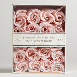 Moroccan Rose Soap Petals - I'm not sure that I could actually use these soap petals because they're so beautiful. But I can imagine them scattered around an all-white bathroom.