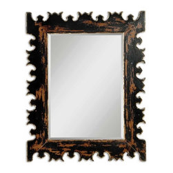 "Uttermost - Caissa Antique Black Wall Mirror - This really is a ""Mirror, mirror on the wall"" moment. You actually wouldn't be surprised if this mirror spoke back. Hang this in your entryway and you'll never get your guests into any other part of your home. They'll be too busy doing the ""Mirror, mirror"" bit."