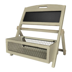 Enchante Accessories Inc - Distressed Wood Multifunctional Basket / Planter Shelf  With Chalkboard (Cream) - Wood basket / planter with wire mesh cage and chalkboard surface