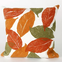"""Liora Manne - Mystic Leaf Square Indoor/Outdoor Pillow in Orange - Features: -Available in 16.5"""" or 20.5"""" sizes. -Color: Orange. -Content: 100% Polyester Microfiber. -Backing: 100% Polyester. -Handmade. -Indoor/Outdoor and antimicrobial. -Removable cover can be hand-washed. -Shape: Square. -Easy care and maintenance. -Combines intricate hand crafting with modern technology. Specification: -16"""" Dimensions: 16"""" H x 16"""" W x 5"""" D, 2 lbs. -20"""" Dimensions: 20"""" H x 20"""" W x 5"""" D, 2 lbs."""