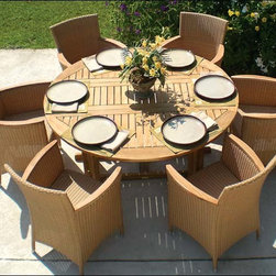 """Fifthroom - 60"""" Teak Drop Leaf Table and Full Weave Chair Set -"""