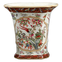 Oriental Danny - Porcelain Flower Vase - Perfect for larger flower arrangements or for planting orchids, this exquisite porcelain vase will look so elegant on your side table or mantle. Showcase the masterfully hand painted floral pattern in your sitting room and your whole decor will feel more sophisticated.