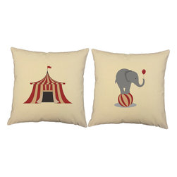 Store51 LLC - Elephant Circus Tent Throw Pillows 16x16 Natural Cushions - FEATURES: