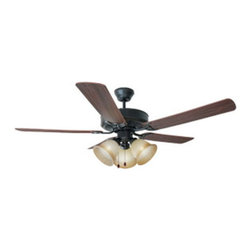DHI-Corp - Cameron 52-inch 3-Light 5-Blade Ceiling Fan, Dark Mahogany or Light Maple Blades - The Design House 153999 Cameron 52-Inch 3-Light 5-Blade Ceiling Fan features an oil rubbed bronze finish with antique glass shades that are ideal for any room in the house. Use the pull chain to control your 3-speed motor and toggle between three different speed settings. The (5) fan blades have a dark mahogany finish on one side and a light maple finish on the other. Choose between close-up, 4-inch downrod or vaulted mount for angled ceilings. Run the motor in reverse to help conserve energy costs during all seasons. Blades can be run on the normal setting during the summer to create cooling air flow and on reverse in the winter to re-circulate warm air from the ceiling. This fan is UL listed, rated for 120-volts and features (3) 60-watt candelabra base incandescent lamps. Adaptable light kit is included. Measuring 52-inches, this fixture adds a dramatic accent to any home or condominium. Coordinate your home with the rest of the Cameron collection, which features a beautiful matching pendant, chandelier, vanity and ceiling mount. The Design House 153999 Cameron 52-Inch 3-Light 5-Blade Ceiling Fan comes with a 10-year limited warranty that protects against defects in materials and workmanship. Design House offers products in multiple home decor Categories including lighting, ceiling fans, hardware and plumbing products. With years of hands-on experience, Design House understands every aspect of the home decor industry, and devotes itself to providing quality products across the home decor spectrum. Providing value to their customers, Design House uses industry leading merchandising solutions and innovative programs. Design House is committed to providing high quality products for your home improvement projects.