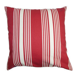 """The Pillow Collection - Perri Stripes Pillow Red White 18"""" x 18"""" - Bring a colorful punch to your living space by tossing this stripe throw pillow. Vertical stripes in red and white are featured in this sleek and modern accent pillow. Freshen up your bed, sofa or sectional with this classic pattern. This 18"""" pillow is easy to mix and match with solids and other patterns. Made of 100% high-quality cotton fabric. Hidden zipper closure for easy cover removal.  Knife edge finish on all four sides.  Reversible pillow with the same fabric on the back side.  Spot cleaning suggested."""