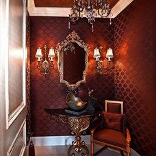 Mediterranean Powder Room by Orange Coast Interior Design