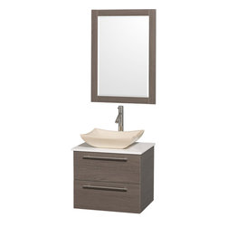 Wyndham - Amare 24in. Wall Vanity Set in Grey Oak w/ White Stone Top & Ivory Marble Sink - Modern clean lines and a truly elegant design aesthetic meet affordability in the Wyndham Collection Amare Vanity. Available with green glass or pure white man-made stone counters, and featuring soft close door hinges and drawer glides, you'll never hear a noisy door again! Meticulously finished with brushed Chrome hardware, the attention to detail on this elegant contemporary vanity is unrivalled.