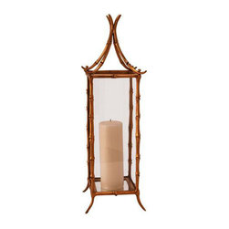 """Arteriors - Arteriors Bamboo Hurricane Lantern - """"As seen In"""" Elle Decor Magazine! This Bamboo Hurricane Lantern is a beautiful, delicate creation from Arteriors. Complete with clear glass panels and a small mirror base, this antique brass hurricane lantern is sure to become an instant classic."""