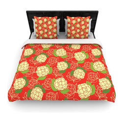"Kess InHouse - Holly Helgeson ""Cammelia"" Red Yellow Cotton Duvet Cover (Twin, 68"" x 88"") - Rest in comfort among this artistically inclined cotton blend duvet cover. This duvet cover is as light as a feather! You will be sure to be the envy of all of your guests with this aesthetically pleasing duvet. We highly recommend washing this as many times as you like as this material will not fade or lose comfort. Cotton blended, this duvet cover is not only beautiful and artistic but can be used year round with a duvet insert! Add our cotton shams to make your bed complete and looking stylish and artistic!"