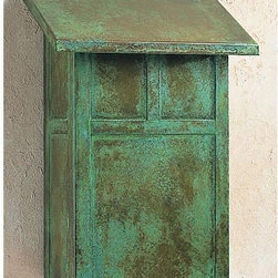 Mission Verdigris Patina Mail Box - This make box has a finish that makes it look like a vintage piece. The design has an arts and crafts feel but it clean enough to adorn any architectural style of house.