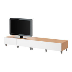 IKEA of Sweden - BESTÅ Bench with casters - Bench with casters, beech effect, white