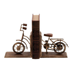 Bookend Sporting A Cycle Shaped Design - Beauty lies in the eyes of the beholder! However, this Metal Bookend shaped like a Cycle is an exception to this rule. Its beautiful, deliberately tarnished finish and exquisite craftsmanship are sure to please anyone?s eye. Featuring an expertly crafted bicycle with a near-brass finish, complete with handles and a seat, this bookend is one for keeps. It adds that desirable rustic charm to your book case or study table. Your favorite classic or the much-awaited leather-bound edition can now rest safe and secure in this bookend. Its heavy weight and astute design ensures that even larger books rest firmly in this bookend and do not cause it to topple over. Do you have a friend who?s a bookworm? Imagine the smile on his face when you gift him this bookend on his birthday! Made from rustproof and durable metal, this bookend will serve you for many years to come.. It comes with the following dimensions
