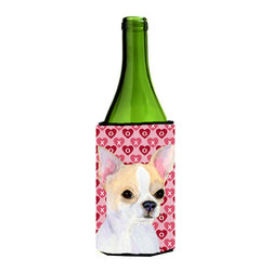 Caroline's Treasures - Chihuahua Hearts Love and Valentine's Day Portrait Wine Bottle Koozie Hugger - Chihuahua Hearts Love and Valentine's Day Portrait Wine Bottle Koozie Hugger SS4474LITERK Fits 750 ml. wine or other beverage bottles. Fits 24 oz. cans or pint bottles. Great collapsible koozie for large cans of beer, Energy Drinks or large Iced Tea beverages. Great to keep track of your beverage and add a bit of flair to a gathering. Wash the hugger in your washing machine. Design will not come off.