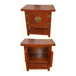Solid Chinese Elmwood Wing Top End Table - This item was designed by our Shanghai staff. Using high quality Elmwood and carving it in to a wonderfull object of art. Wing top sloping top and cut lattice shelf using Japanese and Chinese design . We have created a unique cabinet with solid  Big brass fixtures. This item can be used as a end table or night stand in any modern, traditional, asian or traditional interior . Dimensions: 24 inches by 16 inches deep by 24 inches high.