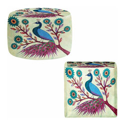 DiaNoche Designs - Blue Peacock Ottoman - Lightweight, artistic, bean bag style Ottomans. Coming in 2 square sizes and 1 round, you now have a unique place put rest your legs or tush after a long day! Artist print on all sides. Dye Sublimation printing adheres the ink to the material for long life and durability. Printed top, khaki colored bottom. Machine washable. Product may vary slightly from image.