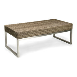 Thos. Baker - Palms Wicker Outdoor Coffee Table - The palms collection  features rich, coffee-colored Viro all-weather wicker woven over rust-resistant aluminum frames set on 304-grade stainless legs. Plush cushion sets are covered in Sunbrella outdoor performance fabrics made-to-order in your choice of solids or textures or premium woven and striped patterns.Signature or premium cushion sales are final and ship in 2-3 weeks.