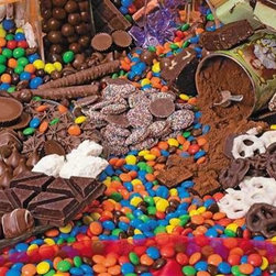 Chocolate Sensation Puzzle - 400 Piece Jigsaw PuzzleWhether you take your chocolate covering pretzels, inside candy coatings, dusted with tiny non-pareils, or simply as dense     blocks of sensuous richness, this puzzle will keep you satisfied for hours.  Best of all: no calories or artificial sweetener!  Your     whole family can enjoy piecing together Chocolate Sensation, because there are large pieces on the outside for the young ones, and small pieces     on the inside for more experienced puzzlers!