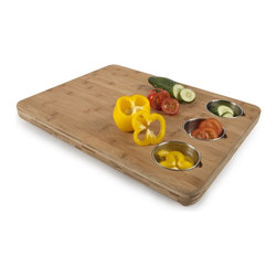 Bamboo Butchers Block with 3 Prep Bowls - For the professional and home cook alike, this bamboo butcher block from Core Bamboo can be found in gourmet kitchens around the world. Made from the finest bamboo and designed with the professional in mind, this bamboo cutting board has 3 built-in bowls to make your prep work even easier.