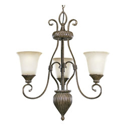 Progress Lighting - Progress Lighting Maison Orleans Traditional 3-Light Chandelier X-78-1734P - French influencing and lighter finishes give an elegant look to this Progress Lighting chandelier. From the Maison Orleans Collection, it features three inverted lights housed in eye-catching etched jasmine mist glass shades. A rich Fieldstone finish accentuates the scrolling arms and pulls the look together.