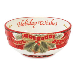 Fitz and Floyd - Fitz and Floyd Damask Holiday Sentiment Bowl - 19-654 - Shop for Sets from Hayneedle.com! About Fitz and FloydFitz and Floyd is recognized worldwide as a leader amongst the style- and quality-conscious. For 50 years their unique designs have made them the leader in the purveyor of hand-painted ceramic dinnerware tableware accessories giftware and collectibles. All Fitz and Floyd pieces are easy to spot. Each piece is distinctively hand-crafted by artisans from the drawing board to the sculpting wheel and kiln.The company's Dallas-based studios are renowned for producing over 500 unique designs per year. Creations range from presidential dinnerware for the White House or a tea service for Her Majesty Queen Elizabeth II to the perfect centerpiece for your table and each design is lovingly crafted in the highest quality. Meticulous craftsmanship and exquisite detail make every Fitz and Floyd piece a treasured heirloom-quality gift.