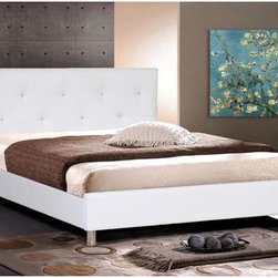 Wholesale Interiors - Barbara White Modern Bed with Crystal Button Tufting - Kin - Contemporary platform bed (requires only a mattress; wooden slats included)