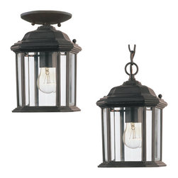Sea Gull Lighting - Sea Gull Lighting 60029 Kent Outdoor Hanging Lantern - Sea Gull Lighting 60029-12 Kent Black Outdoor Hanging Lantern