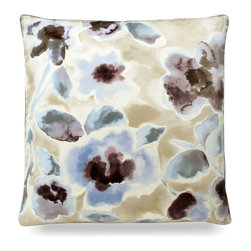 "Florinda Pillow - Mink - 24"" - Impressive and striking with its floral pattern, the Florinda Pillow in mink is an ideal pick for a nautical or coastal theme when a bold look is needed in a room that has fair amounts of white. Perfect for a guest bedroom chair or a beautiful sofa, switching out accent pillows is a great way to update the look of a space without redecorating the entire interior."
