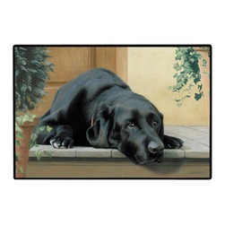 155-Black Lab Porch Doormat - 100% Polyester face, permanently dye printed & fade resistant, nonskid rubber backing, durable polypropylene web trim on the porch or near your back entrance to the house with indoor and outdoor compatible rugs that stand up to heavy use and weather effects