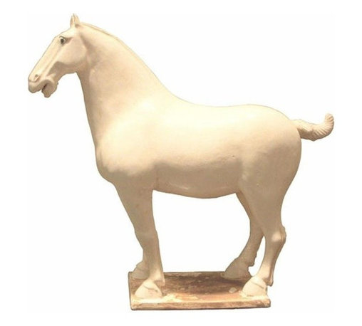 Belle & June - White Tang Horse Medium - The Tang Period was considered to be the golden age of history and literature and art in Chinese culture. Why not add a regal piece from that era to your home?  Two of these would be a stunning addition to your library or kitchen is used as bookends.