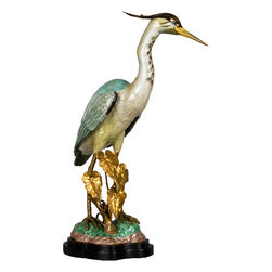 Oriental Danny - Blue Heron Figurine with Bronze Ormolu - This figurine of a blue heron is perfect for a shorebird like yourself. The realistic bird sculpture stands regal and proud, reminding you of the peaceful times you spend on the beach.