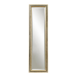 Bassett Mirror - Rectangular Floor Cheval Mirror in Silver & G - Decorative mirror. Includes a black stand on the back. 18 in. L x 64 in. H (24 lbs.)