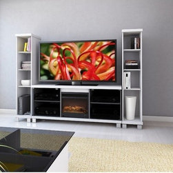 """dCOR design - Holland 60"""" TV Stand with Electric Fireplace - Features: -Tempered safety glass doors.-Cable management system.-Distressed: No.-Collection: Holland.-TV Size Accommodated: Accomodates up to 70"""" TV.-Powder Coated Finish: No.-Gloss Finish: No.-Material: Engineered wood & tempered glass.-Number of Items Included: 1.-Solid Wood Construction: No.-Exterior Shelves: No.-Drawers: No.-Cabinets: Yes -Number of Cabinets: 2.-Number of Doors: 2.-Door Attachment Detail: hinges.-Interchangeable Panels: No.-Magnetic Door Catches: Yes.-Number of Interior Shelves: 2.-Adjustable Interior Shelves: Yes..-Scratch Resistant : No.-Ventilation Features: Yes.-Casters: No.-Accommodates Fireplace: Yes.-Fireplace Included: Yes -Fireplace Type: Electric.-Firebox Construction: Metal.-Functional Fireplace: Yes.-Optional Fireplace Heat: No.-Wattage Output: 750 - 1,500 W..-Lighted: No.-Cable Management: Yes.-Remote Control Included: Yes.-Batteries Required: No.-Weight Capacity: 250 lbs maximim TV weight.-Swatch Available: Yes.-Commercial Use: No.-Recycled Content: No.-Lift Mechanism: No.-Expandable: No.-TV Swivel Base: No.-Integrated Flat Screen Mount: No.-Hardware Material: Metal.-Non-Toxic: No.Specifications: -ISTA 3A Certified: No.-CARB 2 Certified: Yes.-CARB Certified: Yes.-FSC Certified: No.-General Conformity Certified: No.-CSA Certified: No.-EPP Certified: No.Dimensions: -Overall Product Weight: 109 lbs.-Overall Height - Top to Bottom: 25"""".-Overall Width - Side to Side: 60"""".-Overall Depth - Front to Back: 16"""".-Shelving: -Shelf Height - Top to Bottom: 9"""".-Shelf Width - Side to Side: 19"""".-Shelf Depth - Front to Back: 14""""..-Cabinet: -Cabinet Interior Height - Top to Bottom: 18.5"""".-Cabinet Interior Width - Side to Side: 19"""".-Cabinet Depth - Front to Back: 14""""..-Legs: Yes.Assembly: -Assembly Required: Yes.-Tools Needed: Screwdriver.-Additional Parts Required: No.Warranty: -Product Warranty: 1 year warranty."""